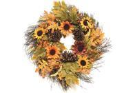 "24"""" Autumn Harvest Decorative Artificial Fall Leaves, Berries, Pinecones & Sunflowers Wreath - Unlit"" 9SIA09A4XB9144"