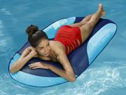 "66"""" Aqua and Dark Blue Mesh SunDry Swimming Pool Spring Float Lounger"" 9SIV1JB6Y06081"