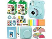 Fujifilm Instax Mini 9 Instant Camera ICE BLUE + Fuji INSTAX Film (40 Sheets) + Accessories Kit Bundle + Custom Case with Strap + Assorted Frames + Photo Album