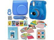 Fujifilm Instax Mini 9 Instant Fuji Camera (COBALT BLUE) + Accessories Bundle + Custom Matching Case w/Neck Strap + Photo Album + Assorted Frames + 4 Color Filt
