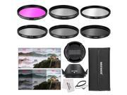 Neewer 67MM Camera Lens Filter Accessory Kit: 67MM Filters(UV/CPL/FLD/ND2/ND4/ND8) + Tulip Lens Hood + Center Pinch Lens Cap + Cap Keeper Leash + Filter Pouch + Microfiber Cleaning Cloth
