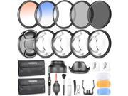 Neewer® 58MM Photography Accessory Kit: Filter Set(UV+CPL+ND8)+Close-up Filter(+1/+2/+4/+10)+Graduated Color Filter+Cleaning Set+Diffuser Set+Tulip/Collapsible 9SIA94K3PG9033