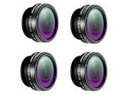 Neewer® 4 Pieces 3-in-1 Clip-on Lens Kit for Android Tablet,ipad,iphone,Samsung Galaxy and other Smartphones,Includes:(4)180 Degree Fisheye Lens+(4)2 in 1 Macro
