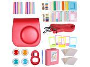 Neewer Red 10 in 1 Accessories Kit For Fujifilm Instax Mini 8/8s: Camera Case; Album; Selfie Lens;4 Colored Filter; 5 Film Table Frame; 20 Wall Hanging Frame; 4