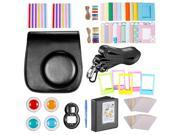 Neewer Black 10 in 1 Accessories Kit For Fujifilm Instax Mini 8/8s: Camera Case; Album; Selfie Lens;4 Colored Filter;5 Film Table Frame;20 Wall Hanging Frame;40