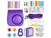 Neewer Purple 10 in 1 Accessories Kit For Fujifilm Instax Mini 8/8s: Camera Case; Album; Selfie Lens; 4 Colored Filter;5 Film Table Frame;20 Wall Hanging Frame;