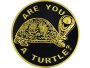 Shriner Are You A Turtle? Symbol Round Car Emblem [Gold - 2.75