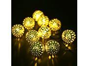 Alker Globe Solar Fairy String Light w/ 10 LED for Outdoor Christmas Wedding Parties Bedroom Path Landscape - Warm White