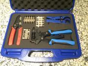 Image of Professional Compression Crimping Tool Kit for RG6 RG59 RG11 BNC RCA