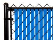 Chain Link Royal Blue Single Wall Ridged™ Privacy Slat 5ft High Fence Bottom Lock