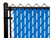 Chain Link Royal Blue Single Wall Ridged Privacy Slat 7ft High Fence Bottom Lock