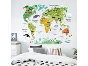 Colorful Animal World Map Wall Sticker Home Decal for Kids Baby Room Living Room Decal Mural Art Diy Wall Art Decoration 60*90cm 9SIA9AR7AV8736