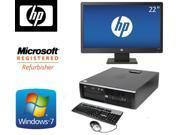 "HP 8100 Elite SFF Windows 7 Professional 64 bit i5(3.2GHz) 4GB DDR3 500GB DVD + HP 22"" LCD"