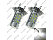Car Bulb White 21 SMD 2835 LED H7 Fog Light Foglight PX26d High Power H170 H7 2835 10w high light the car front fog lamps
