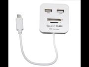 USB 3.1 Type-C 2-Port USB 2.0 Hub TF SD Card Reader Combo Splitter for Mobile Hard Disk, Mobile Phone, Tablet PC, USB Flash Disk, Mouse, Keyboard