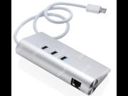 Type-c USB3.0 HUB, 3 Ports Gigabit NIC Network HUB Aluminum Gigabit NIC Ethernet LAN Network With 5Gbps 3-Ports USB 3.0 RJ45 HUB