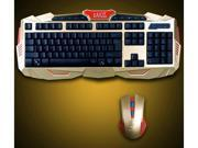 Multimedia Wireless Gaming Keyboard and Mouse Combo With USB RF 2.4GHz, Anti-Ghosting Feature & Water-Proof Design - Black & Gold (Iron Man Version) 9SIA9JN5CK5038