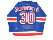 HENRIK LUNDQVIST Signed Blue New York Rangers Jersey With Embroidered Stats LE of 30 STEINER.