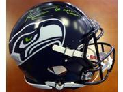 RUSSELL WILSON Signed / Inscribed (Green) Authentic Speed Helmet RW HOLO
