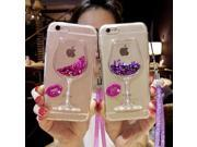 Liquid Quicksand Bling Rhinestone Wine Glass Pattern Phone Case For iPhone 7/ 7 Plus,iPhone 5S SE 6s Plus,Samsung Galaxy S8 S7 Edge Rose red iPhone 5s 9SIA9KG6V34361