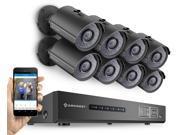 Amcrest 720P Tribrid HDCVI 8CH 2TB DVR Security Camera System w/ 8 x 1MP Bullet Cameras (Black)
