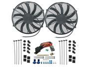 """American Volt Twin 16"""""""" Inch Electric Radiator Condensor Cooling Fans Push-In Probe Thermostat"""" 9SIA9WC4BX2743"""