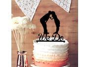 Personalized Bride Kiss Groom on Script We Do Silhouette Anniversary Cake Topper