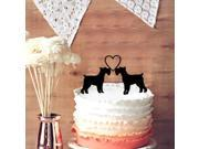2 Schnauzer Dogs in love Wedding Cake Topper Funny Schnauzer Dogs Cake Topper for Wedding Decor