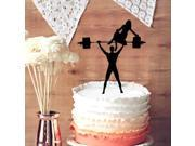 Your Man is Strong Wedding Cake Topper Weightlifting Groom and Bride Silhouette Wedding Cake Topper