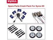 8Pcs Propellers Blades + 4Pcs CW&CCW Motors+2Pcs Front Wheels & Rear Wheels Kit +1Pcs 5in1 Charger Battery kit For Syma X9 2.4G 4CH 3D RC Roll Quadcopter Flying Car Spare Parts Crash Pack Set