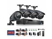 Image of ANNKE 8CH 960H DVR Video Surveillance System with 4 Black Bullet Outdoor 900TVL Night Vision Security Camera P2P & QR Code Scan Easy Remote Access( NO Hard Driv
