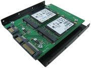 "Minerva SATA III Dual ports to mSATA SSD x2 Adapter with 3.5"" Frame Bracket"