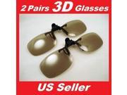 2 Pairs Clip-On Passive 3D Glasses with Polarized Plastic Lenses for LG LCD HDTV 9SIAA7W7396947