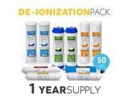 1 Year De-Ionization Replacement Filter Set 10 Total Filters W/ 50 GPD Membrane 9SIV19B6ZP5065