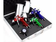 3 HVLP Air Spray Gun Kit Auto Paint Car Primer Detail Basecoat Clearcoat w/ Case 9SIV19B7523304