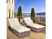 3 Piece Wicker Rattan Chaise Lounge Chair Set Patio Steel Furniture Brown Wicker 9SIV19B7532243