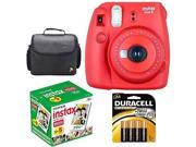 New Fuji instax mini 8 Red Fujifilm instant Film Camera Raspberry +50 Film +Case