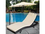 Adjustable Pool Chaise Lounge Chair Outdoor Patio Furniture PE Wicker W/Cushion 9SIV19B7533875