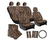 21pc Orange Zebra Print SUV Seat Covers Full Set Floor Mats Steering Wheel Pads 9SIV19B7532855