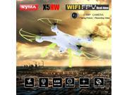 Syma X5HW FPV 4CH RC Quadcopter Drone with HD Wifi Camera Hover Function White 9SIV19B7530612
