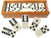 Jumbo Dominoes Double 6 Six Tile with Spinners Black White  Wooden Storage Case 9SIV19B76D4864