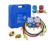 R134a R410a R22 AC A/C Manifold Gauge Set 4FT Colored Hose Air Conditioner 9SIV19B76G5680