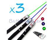 3PCS Green + Blue Violet + Red Light Beam Powerful 5MW Laser Pointer Pen 9SIV19B76E1038