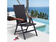 Patio Folding Back Adjustable Aluminum Rattan Chair Lounge Recliner Garden 9SIV19B7A03992