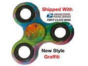 NEW GRAFFITI HAND SPINNER TRI FIDGET CERAMIC STEEL BEARINGS EDC DESK FOCUS TOY