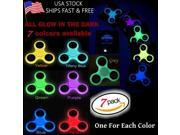 7x Glowing Hand Spinner Tri Fidget Metal Ball Desk Focus EDC Toy For Kids/Adults