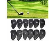 12 PCS PU Leather Golf Iron Head Covers Club Putter Headcovers 3-SW Set Black US 9SIV19B7T12076
