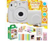 Fujifilm Instax Mini 9 Instant Camera w/ Deco Gear Accessories & Film (Smokey Wh