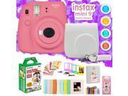 Fujifilm Instax Mini 9 Instant Camera w/ Deco Gear Accessories & Film (Flamingo