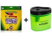 Crayola 50 Count Long Colored Pencils + Free Prismacolor Scholar Colored Pencil Sharpener